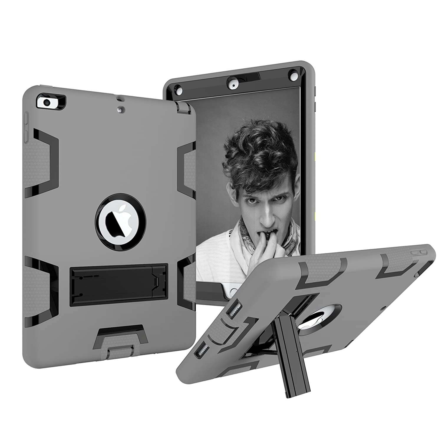 Hansin iPad 9.7 2017 custodia, resistente e robusta Heavy Duty Armour ammortizzatore antiurto Full Body protettiva con cavalletto per il nuovo Apple iPad 24,6 cm 5th Generation