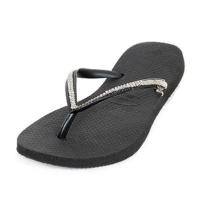 cf68f48ce Havaianas Black Slim Crystal Mesh Flip Flop Black Fabric UK 8 9 ...