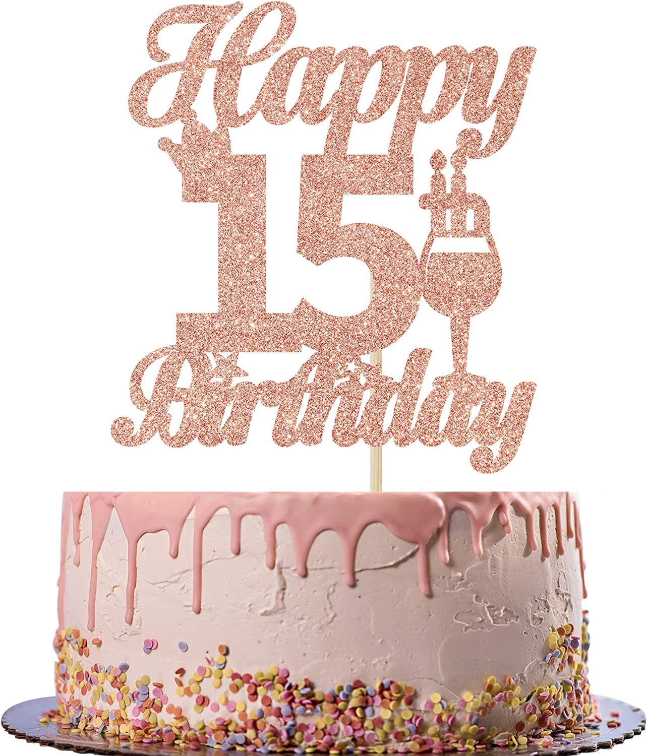 Rose Gold Glitter Happy 15th Birthday Cake Topper - Cheers to 15 Years Old Cake Decor -15th Birthday/Anniversary Party Decoration Supplies