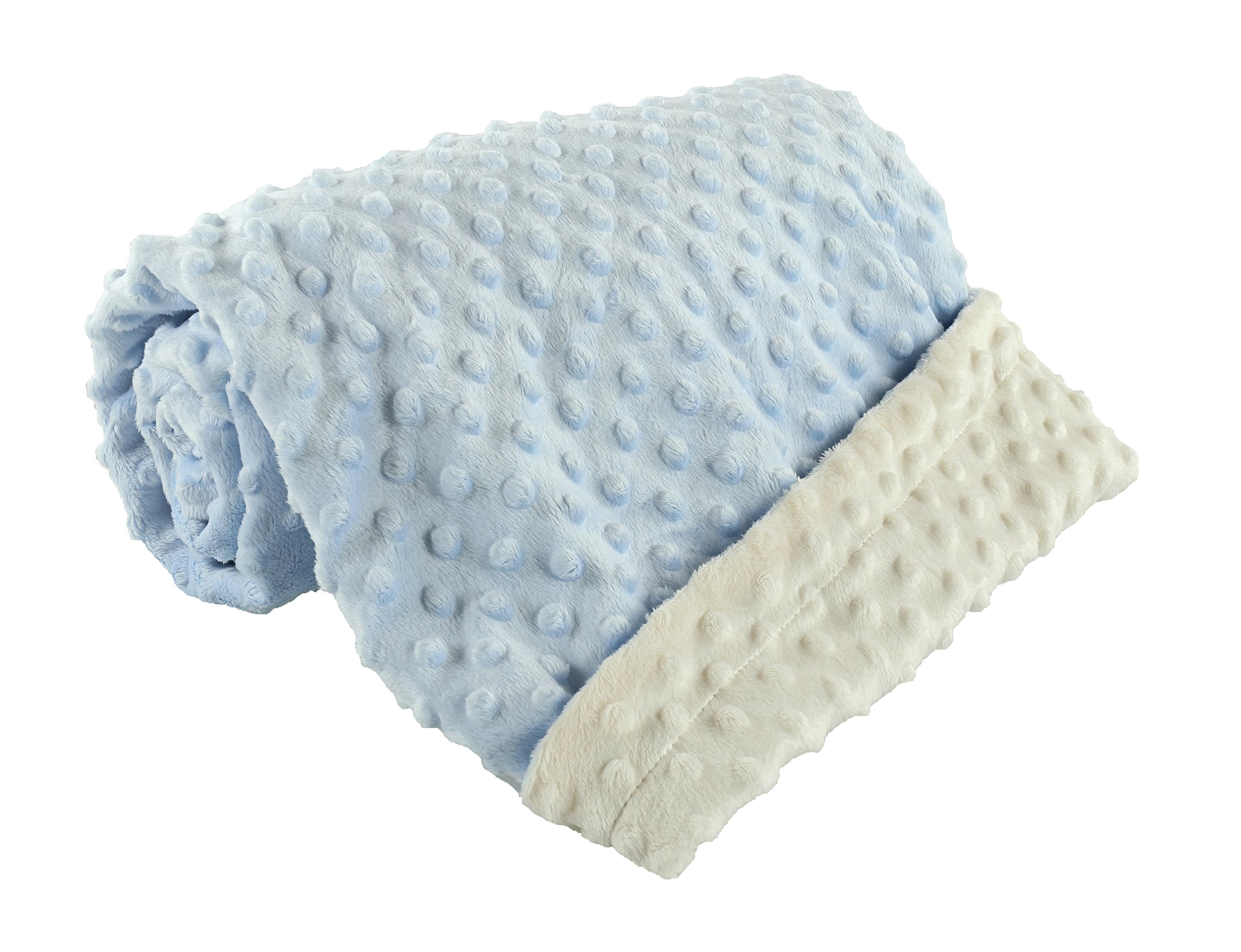 berry bebe -baby blanket for baby boy Ultra soft and cozy MINKY DOT, perfect baby shower gift, blue and ivory for baby boy …