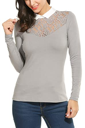 5003ffd9de420b Zeagoo Damen Shirt mit Spitze Langarmshirt Spitzenshirt Top Bluse Business  Hemd Oberteil Grau S