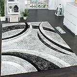 Tappeto Di Design Con Bordo Definito A Righe In Grigio Nero Crema Screziato , Dimensione:80x150 cm