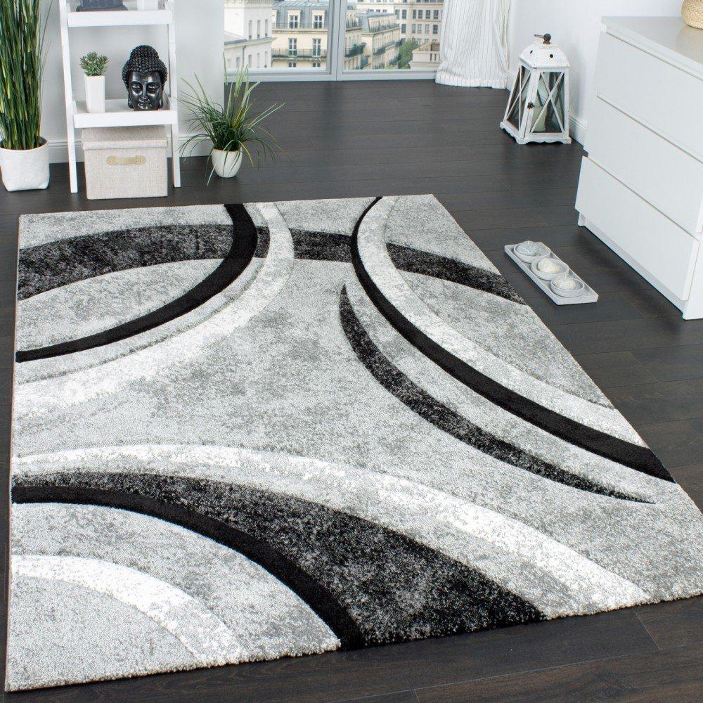 Paco Home Tappeto Di Design Con Bordo Definito A Righe In Grigio Nero Crema Screziato, Dimensione:60x110 cm