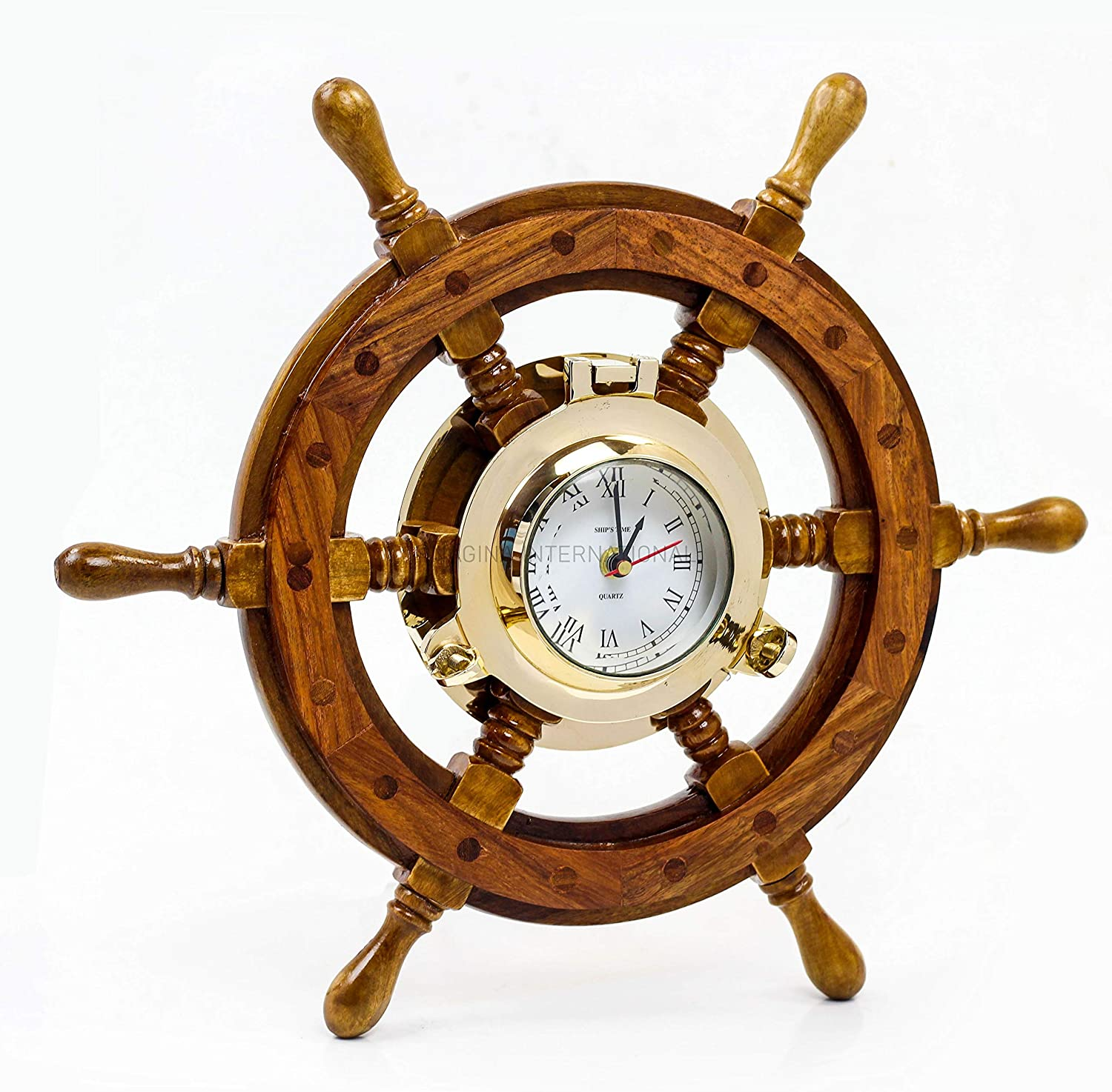 Nagina International Sailor's Premium Home Decor Time's Clock Nautical Brass Porthole Ship's Wheel | Deluxe Office Decor | Wall Decor | Birthday Gift | Christmas (24 Inches)