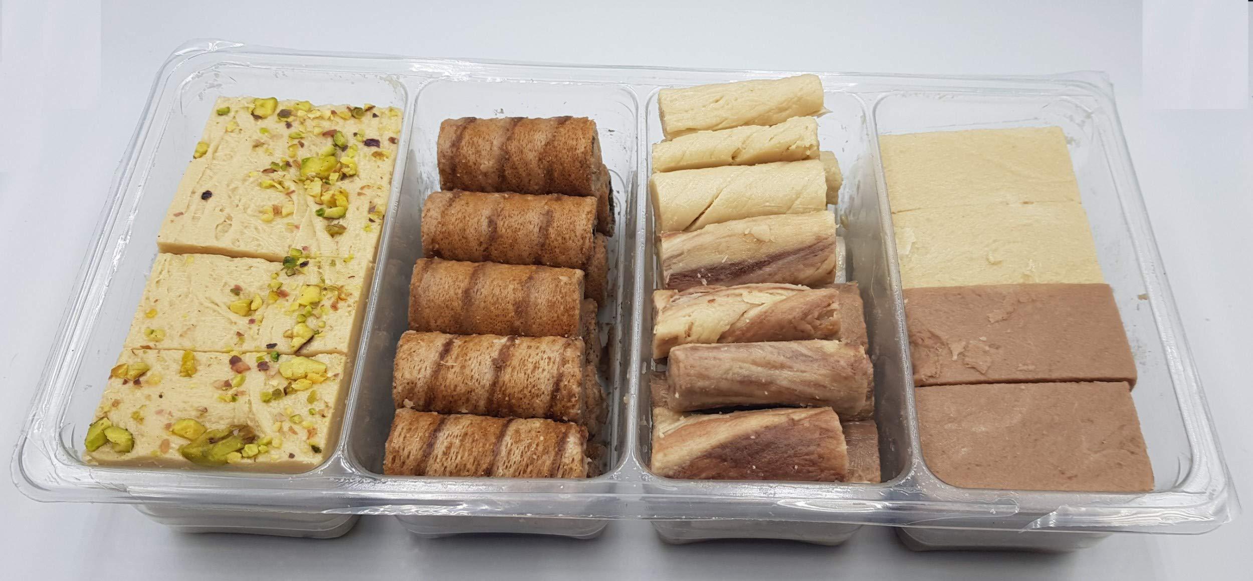 Artisanal Halvah Bars Assorted - 5 Varieties: Pistachio, Marble & Plain - Tahini Halvah Bars (1.8 lbs, 30 Oz, 800 Grams NET, 85-90 Pcs, 4 Layers) Halawa - Flaky Turkish Halva Very Classy Box by Turkish Delight (Image #3)