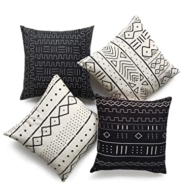 Hofdeco African Mudcloth Pillow Cover ONLY, Black Light Cream, 18 x18 , Set of 4