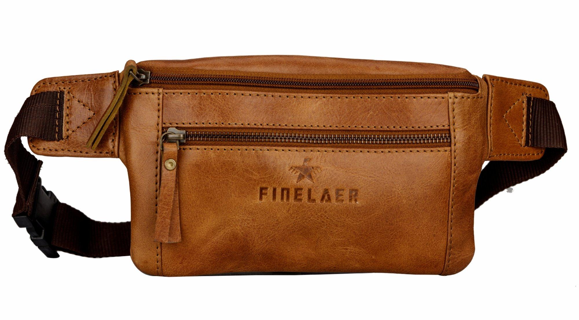 Finelaer Brown Leather Fanny Waist Travel Hiking Pack Bag