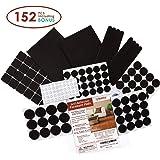 Premium Felt Furniture Pads Set - 152 pieces Including Bonus Rubber Noise Bumpers - Extra Adhesive Hardwood Floor Protectors, Felt Pads for Chair Legs - Black