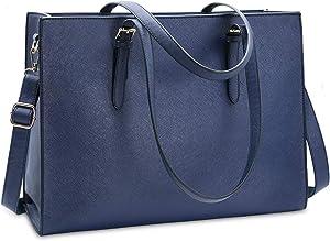 Laptop Bag for Women Waterproof Lightweight Leather 15.6 Inch Computer Tote Bag Business Office Briefcase Large Capacity Handbag Shoulder Bag Professional Office Work Bag Blue