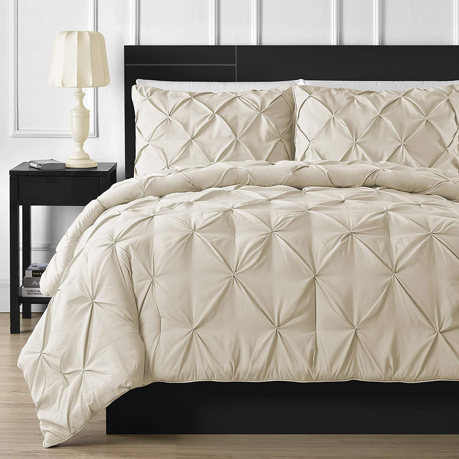 Bedding Kraft Soft Reliable Luxurious Pinch Pleated Duvet Cover 100% Egyptian Cotton 800 TC Stain Resistant & Hypoallergenic Comforter Cover (Oversized King (98 x 120 Inch) (1-Piece), Ivory)
