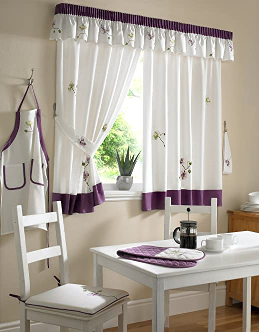 Pelmet / Valance For Orchid White / Purple Kitchen Curtains