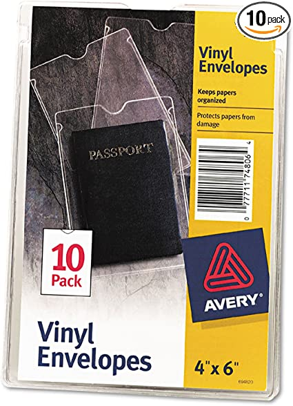 Amazon Com Avery 74806 Top Load Clear Vinyl Envelopes W Thumb Notch 4 X 6 Clear 10 Pack Health Personal Care