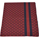 Gucci Men's Burgundy Red Wool Web Stripe GG Guccissima Scarf Muffler
