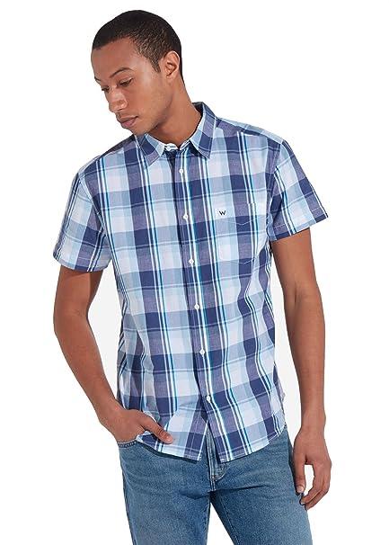 Wrangler - Camisa Casual - Cuello Normal - Manga Corta - para Hombre Azul Azul Large