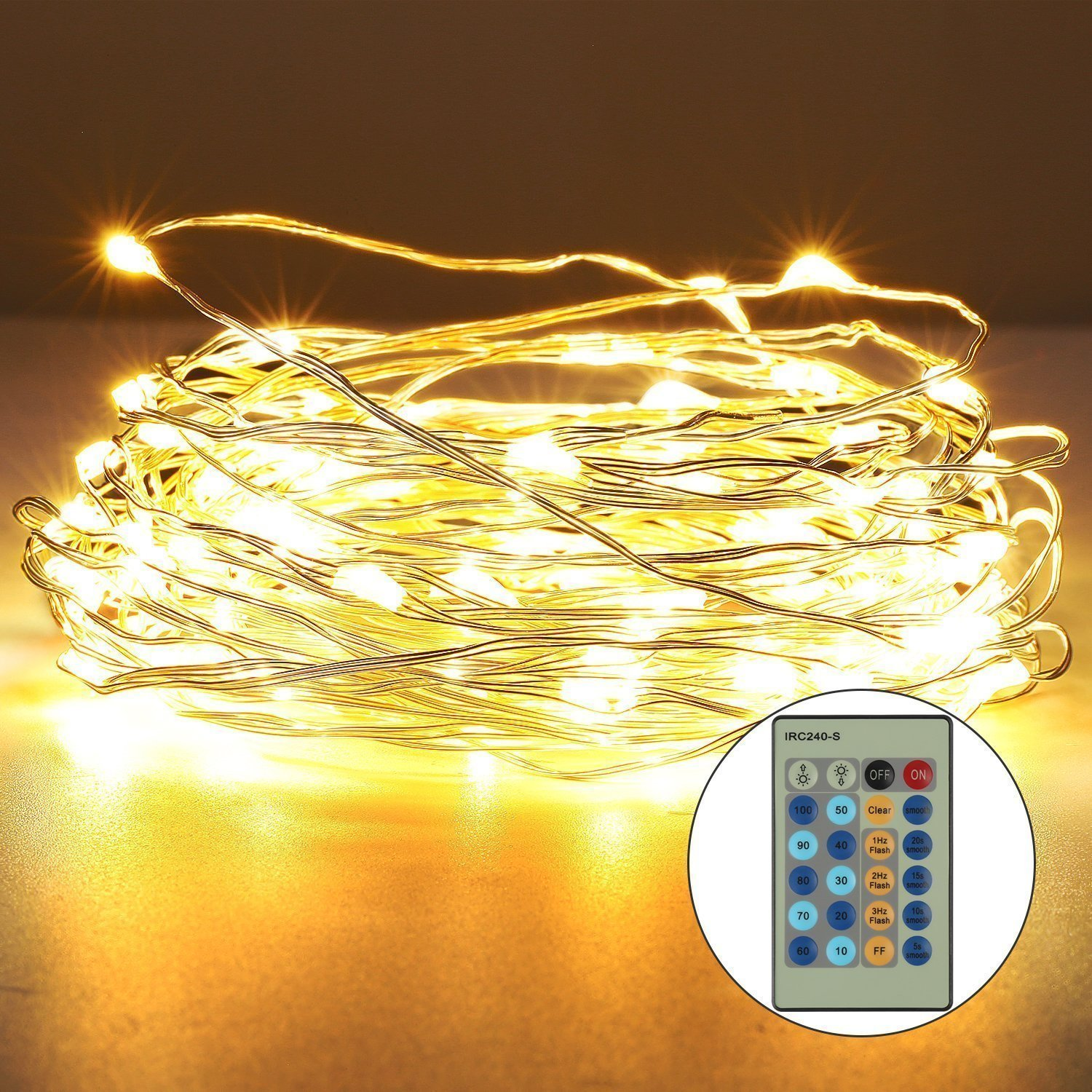 Fivanus 33Foot 100 LEDs Copper Strings Lights (Silver)