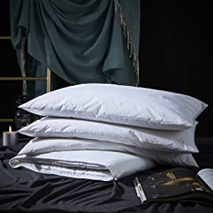 Three Geese Adjustable Layer Down Feather Pillow,Pancake Bed Pillow,100% Soft Egyptian Cotton Cover,Good for Side and Back Stomach Sleeper, Queen Size,Packaging Include 1 Pillow.