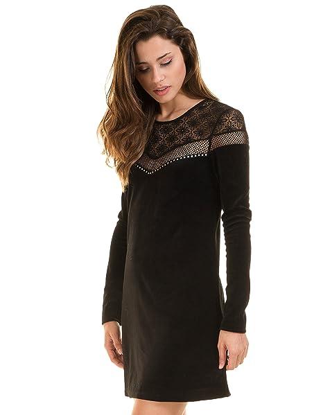 GUESS Vestido Negro Terciopelo Melissa (XS - Negro)