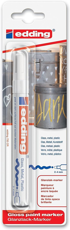 edding 750/1-49 - Blíster con 1 rotulador permanente tinta opaca, color blanco