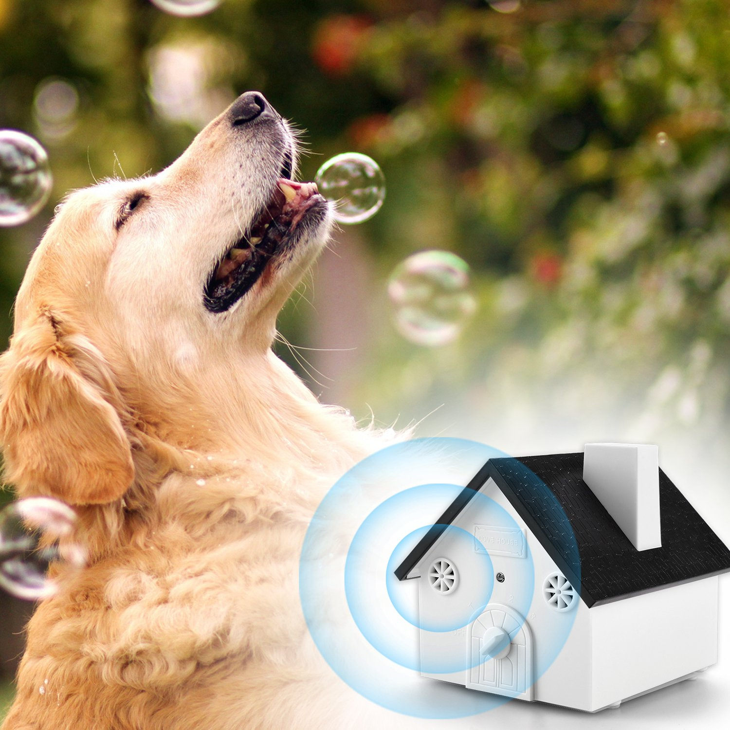 Homitem Ultrasonic Outdoor Bark Controller Anti-barking Devices Sonic Bark Deterrent by, No Harm To Dogs or other Pets,Plant,Human,Easy Hanging/Mounting,3 Modes,Birdhouse Shaped(White) by Homitem (Image #2)