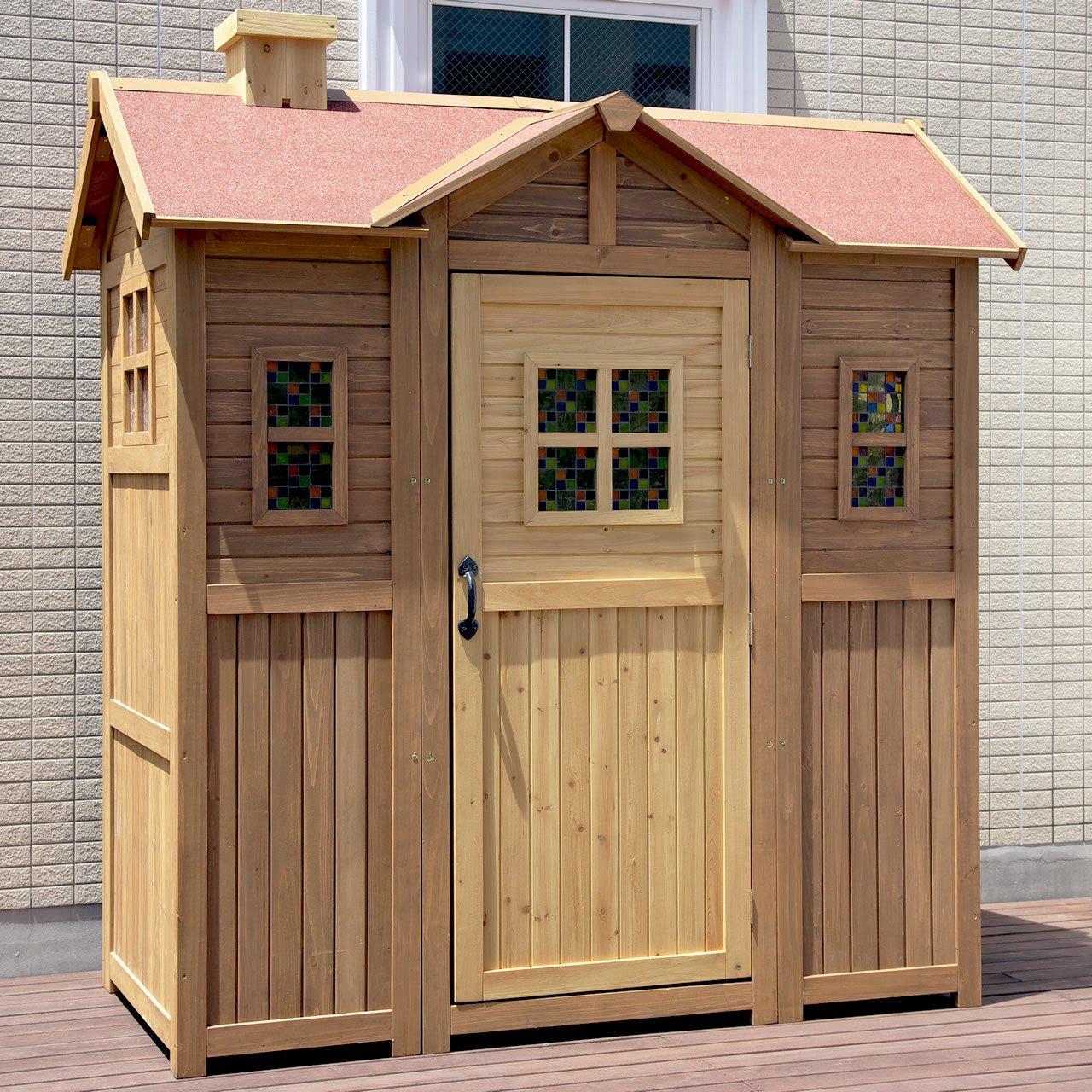 ガーデンガーデン 大型木製物置小屋 ポタジェモザイク ガーデンシェッド (高さ204cm×幅195cm×奥行き106cm) ライトブラウン PTG-1950LBR 超大型ガーデンシェッド ライトブラウン(モザイク窓付) B013HWSSJM