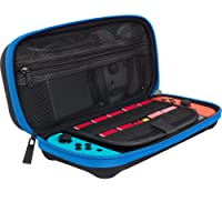 ButterFox Nintendo Switch Deluxe Travel Case Bag with Storage Room for Official AC Adapter - Blue/Black