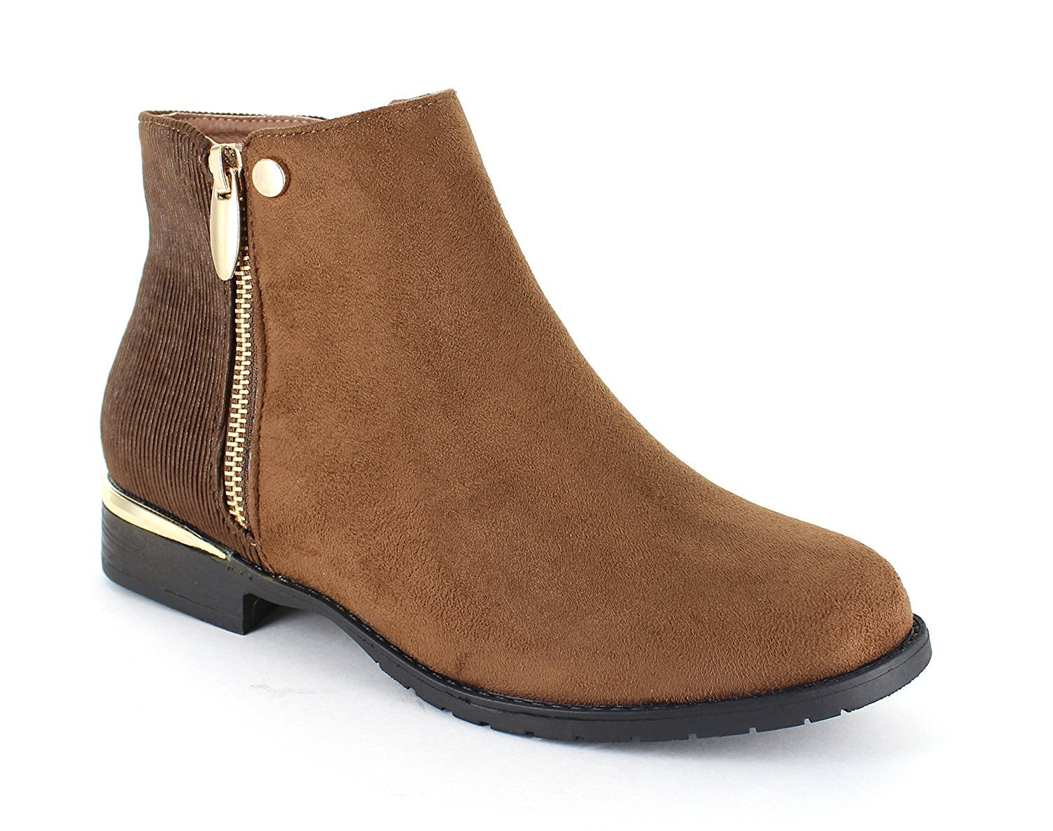 only U Casual Faux Suede Gold Trim Ankle Boots B07F9P76L6 7.5 B(M) US|Cognac