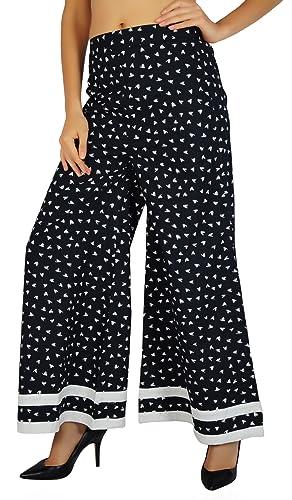 Amoghah Bird algodón Palazzo desgaste para mujer de cintura elástica pantalones anchos de la pierna ...