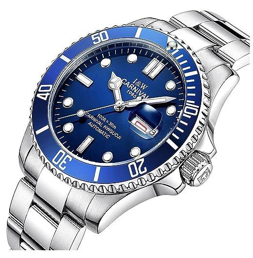 Para hombre relojes primera marca reloj de lujo hombres pulsera reloj luminoso automático para hombre Sport reloj de pulsera de acero completa: Amazon.es: ...