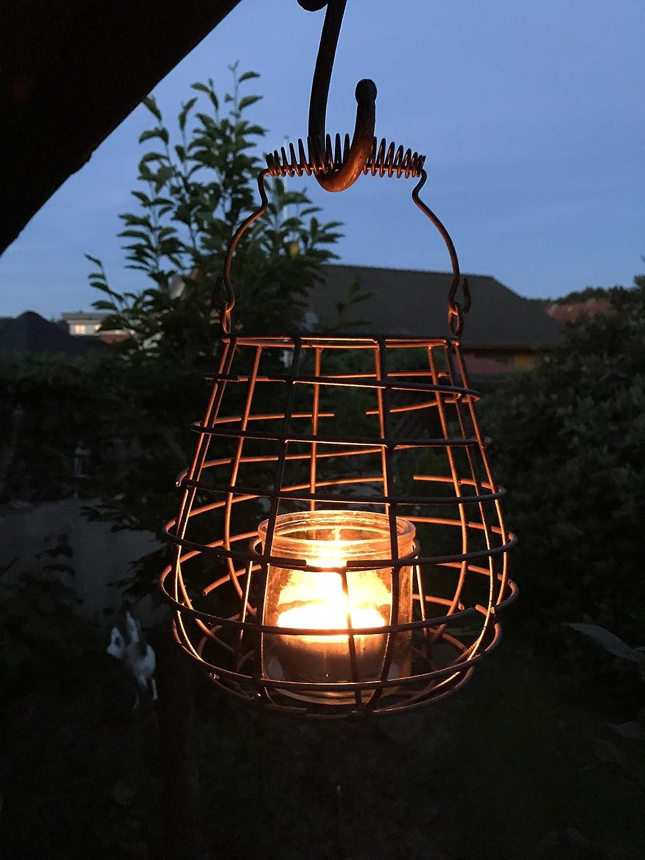 H/öhe 18 cm mit Henkel 27 cm Schwarz aus massiven Draht mit Glas Crispe home /& garden Rustikales Windlicht