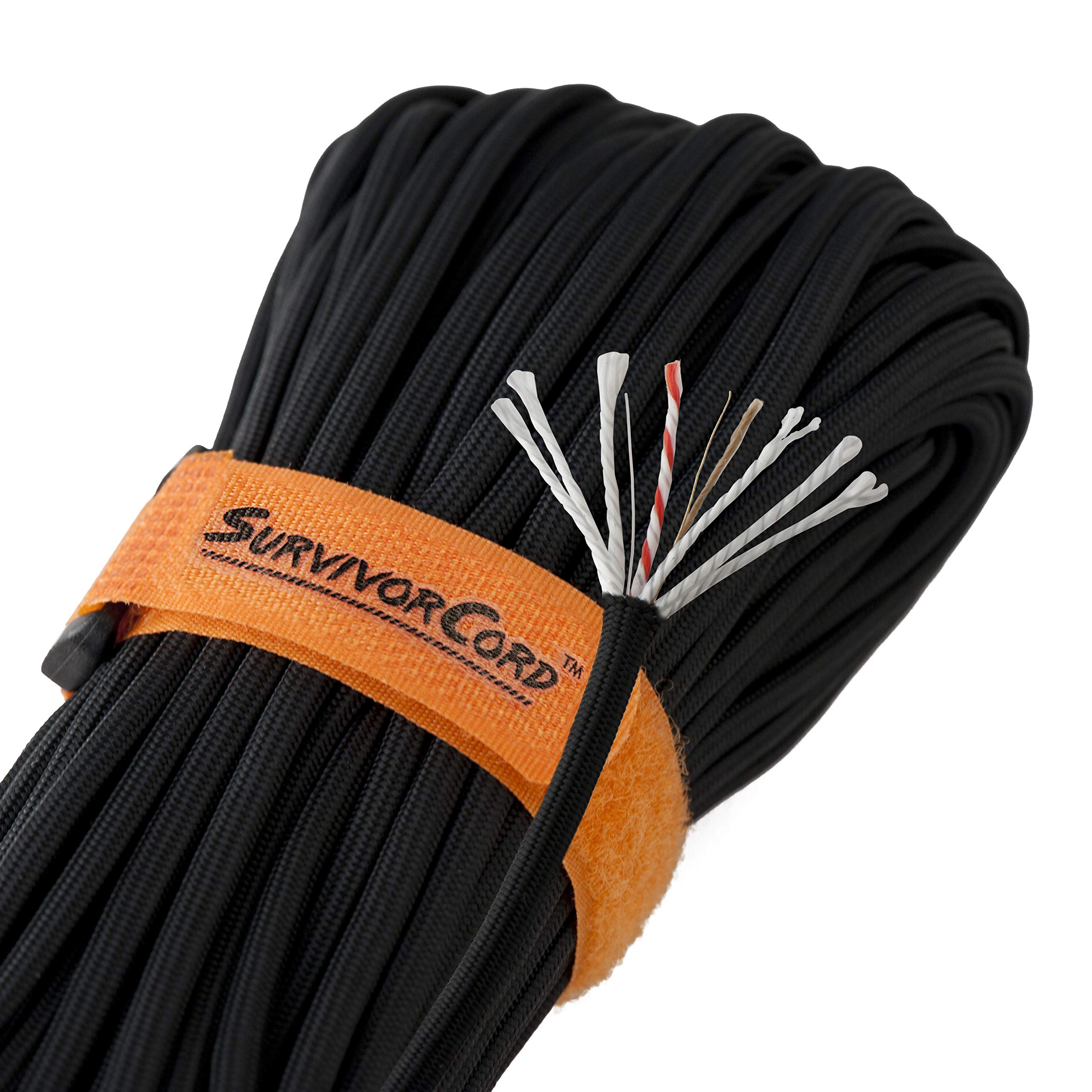 Titan SurvivorCord | Black | 103 Feet | Patented Military Type III 550 Paracord/Parachute Cord (3/16'' Diameter) with Integrated Fishing Line, Fire-Starter, and Utility Wire. by Titan Paracord (Image #1)