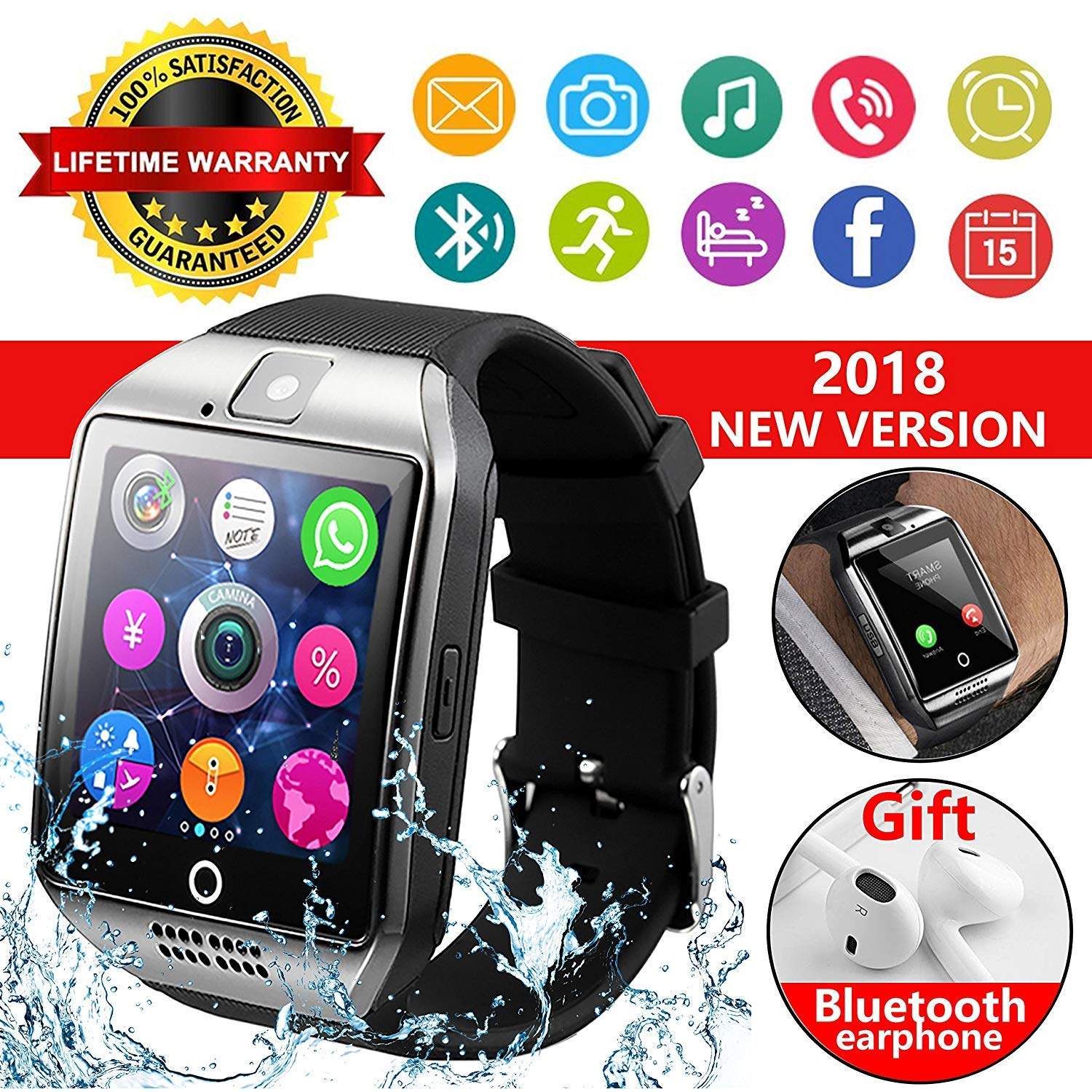 Snakeyon 2019 Bluetooth Smart Watch with Touch Screen Smart Wrist Watch Smartwatch Phone with SIM Card Slot Camera Pedometer Sport Tracker for iOS iPhone Android Samsung for Men Women Child