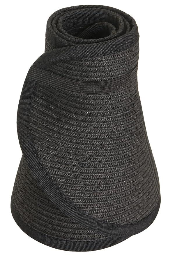 d714ea98f3ae2 Amazon.com  Karen Keith Paper Braid Wide Brim Roll Up Sun Visor Hat -  Black  Clothing