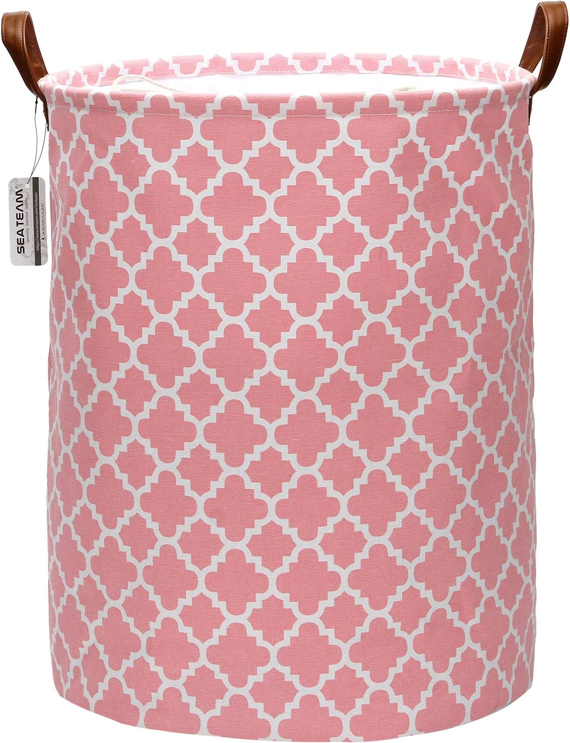 Sea Team Moroccan Lattice Pattern Laundry Hamper Canvas Fabric Laundry Basket Collapsible Storage Bin with PU Leather Handles and Drawstring Closure, 19.7 by 15.7 inches, Pink