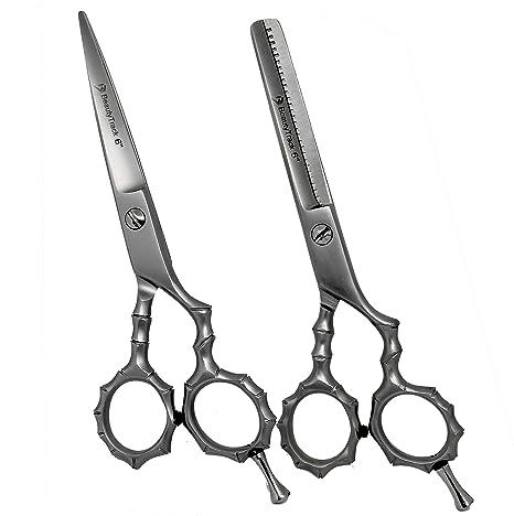 BeautyTrack Profesional Peluquería Tijeras Set - acero inoxidable japonés - Peluquería barber-scissors y baber-thinning tijeras 6 pulgadas para ...