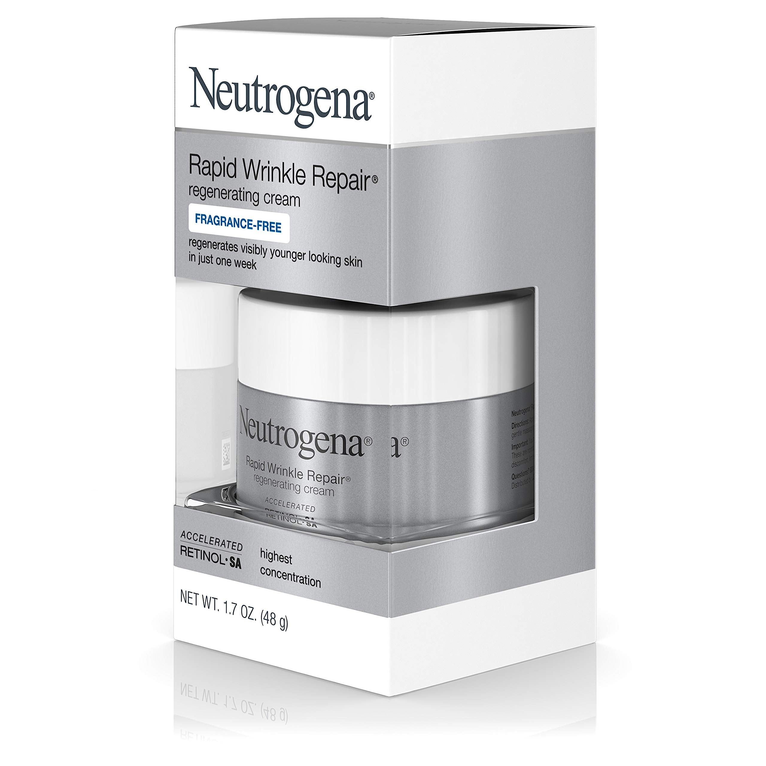 Neutrogena Rapid Wrinkle Repair Hyaluronic Acid Retinol Cream, Anti Wrinkle Cream, Face Moisturizer, Neck Cream & Dark Spot Remover for Face - Day & Night Cream with Hyaluronic Acid & Retinol, 1.7 oz by Neutrogena (Image #8)