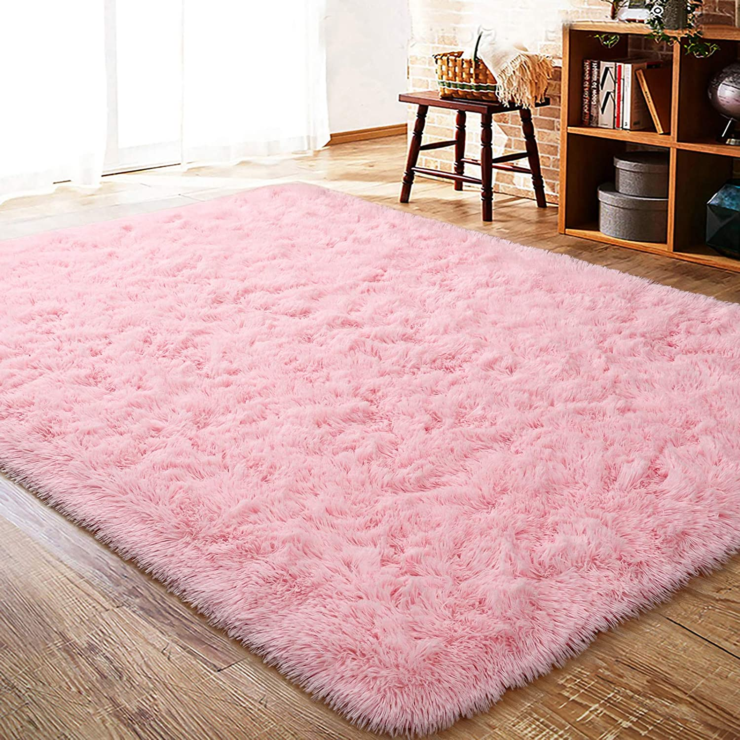 ISEAU Fluffy Rug Carpets Soft Shaggy Area Rug Indoor Floor Rugs for Kids Room Fuzzy Carpet Comfy Cute Nursery Rug Bedside Rug for Boys Girls Bedroom Living Room Home Decor Mat, 3ft x 5ft, Pink