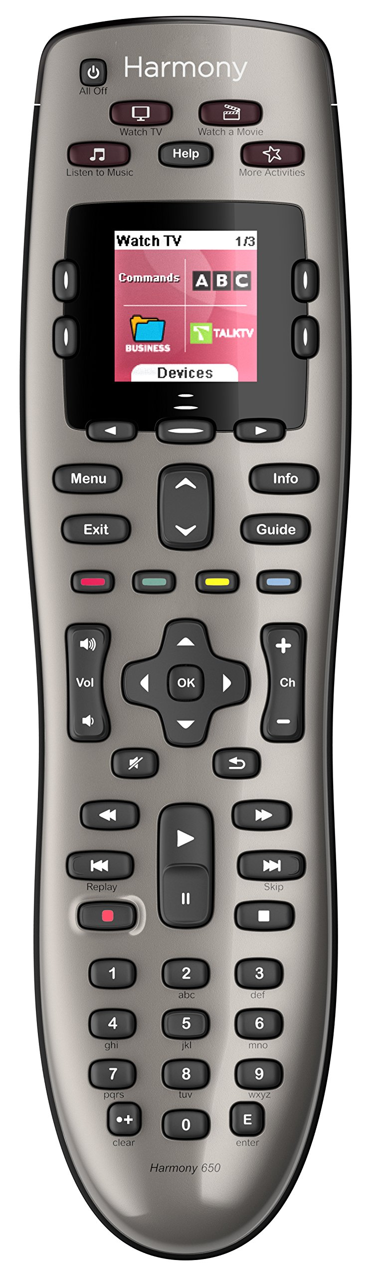 Logitech Harmony 650 Infrared All in One Remote Control, Universal Remote Logitech, Programmable Remote (Silver) by Logitech