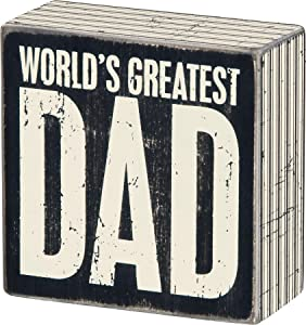 Primitives by Kathy 22654 Square Box Sign, 4-Inch, Greatest Dad