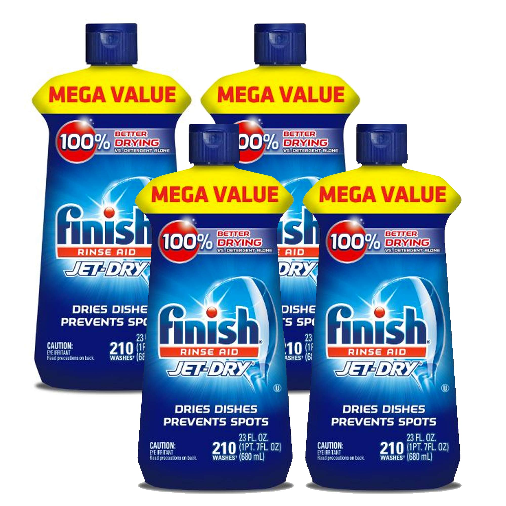 Finish Jet-Dry Rinse Aid, 23oz, Dishwasher Rinse Agent & Drying Agent (Pack of 4)