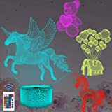 FULLOSUN Unicorn Gift Lamp, 3D Illusion Optical Night Light(4 Patterns) with Remote Control 16 Colors Changing Party…