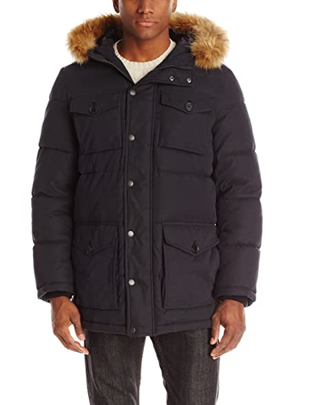Tommy Hilfiger Men's Micro Twill Full-Length Hooded Parka Coat at ...