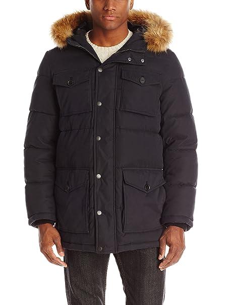 0bcac905f88 Tommy Hilfiger Men's Micro Twill Full-Length Hooded Parka Coat
