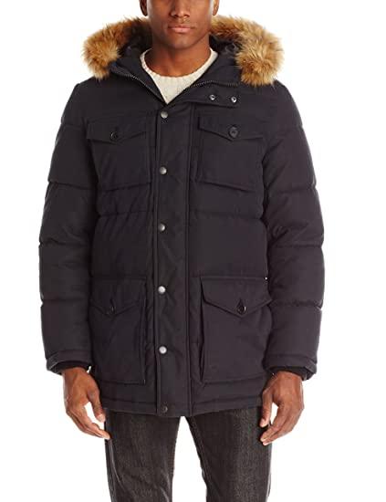 f6f2aa0aa Tommy Hilfiger Men's Micro Twill Full-Length Hooded Parka Coat