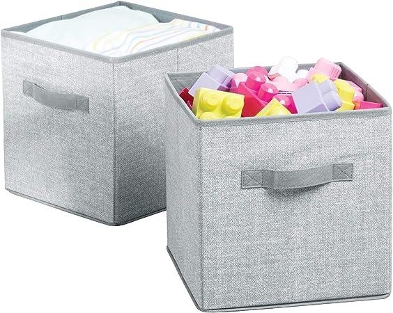 mDesign Juego de 2 Cajas para almacenar Juguetes – Cajas de Tela cuadradas para la habitación Infantil y el Dormitorio – Cestas de Juguetes con Asas Fabricadas con Polipropileno Transpirable – Gris: Amazon.es: Hogar