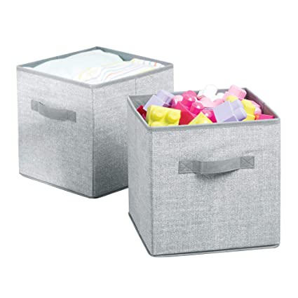 mDesign Juego de 2 cajas para almacenar juguetes – Cajas de tela cuadradas para la habitación
