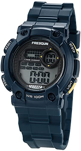 50e00d37a579d Freegun - EE5178 - Montre Garçon - Quartz Digital - Cadran Noir - Bracelet  Plastique Bleu