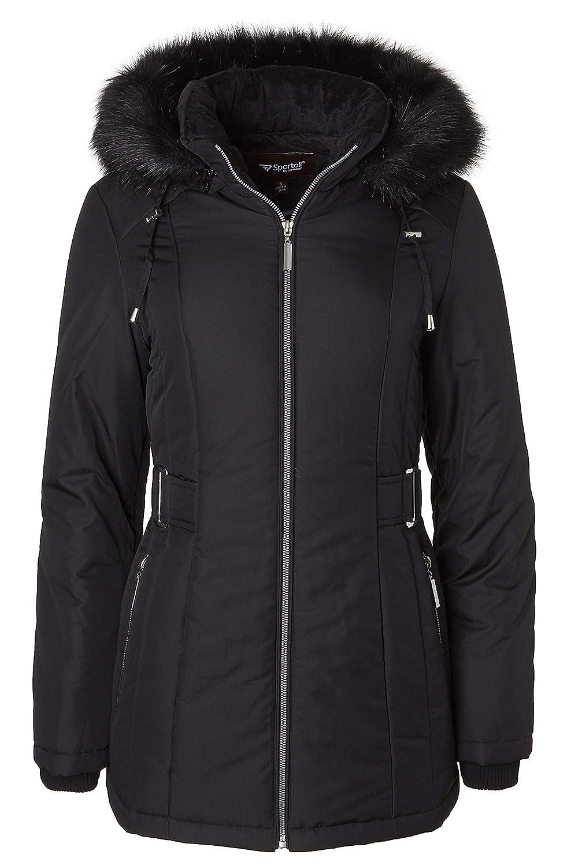 Womens Midlength Down Alternative Puffer Coat Fur Trim Plush Lined Detachable Hood