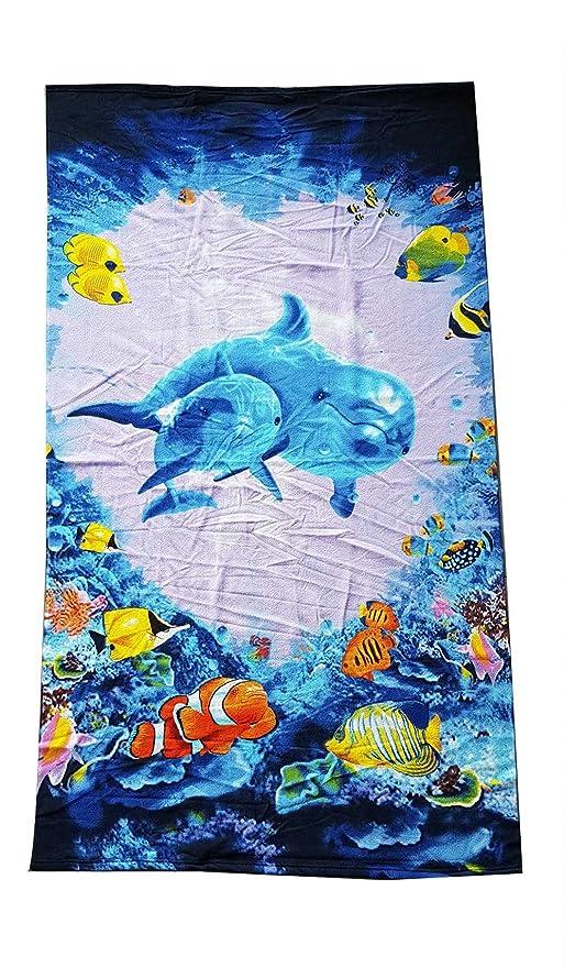 M&O toalla playa de rizo de microfibra estampado tamaño cm 92 x 165 Delfines en el