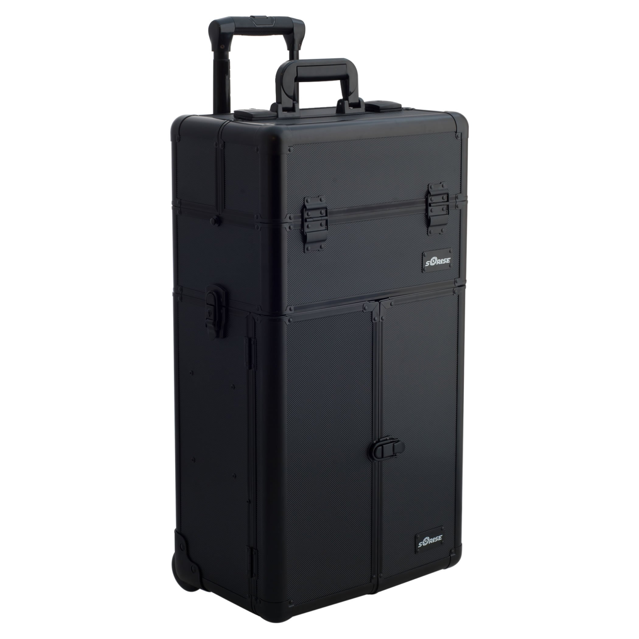 SUNRISE Makeup Case on Wheels 2 in 1 Professional Artist I3165, French Doors, 4 Slide Trays and Drawers, Adjustable Dividers, Mirror with Shoulder Strap, Black Dot