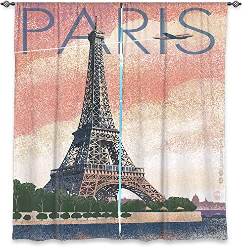 Dia Noche WCL-LanternPressEiffelTowerParis6 Lined Window Curtains, 80W x 82H in